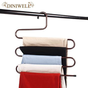 DINIWELL S Shape 5 Layer Multi-function Magic Trousers Rack Multilayer Metal Tie Hanger Stainless Steel Suit Pants Storage Rack