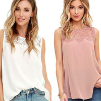 Sexy Lace Sleeveless Casual Tops T-Shirt For Women