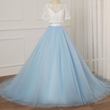 Contrast Color Wedding Dress with Lace Jacket V-neck Tulle Long Wedding Gowns