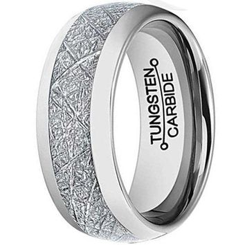 CERTIFIED 8mm Silver Tungsten Carbide Ring Vintage Meteorites Pattern Wedding Engagement Band Domed