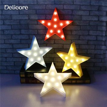 DELICORE Letters Light Star Shape LED Plastic Marquee Light Battery Operated LED Marquee Sign for Home Christmas Decorative