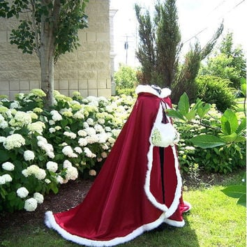Valentine Bridal cape 65 inch wedding cloak Claret (Apple) / Claret Satin with fur  trim Handmade in USA