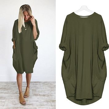 Dress Ladies Crew Neck Long Tops  Plus Size Pocket Loose