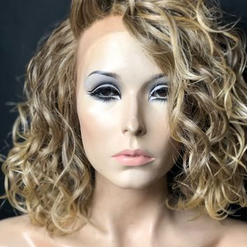 Dirty Blonde Messy Bob Human Hair Blend Lace Front Wig