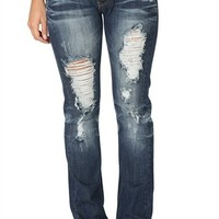 Machine Dark Bootcut Jeans with Destruction and Back Pocket Stitching