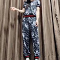 """Gucci"" Women Casual Fashion Letter Print Short Sleeve Trousers Set Two-Piece Sportswear"