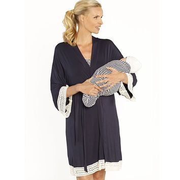 Maternity & Nursing Nightgown, Robe, and Baby Blanket Set