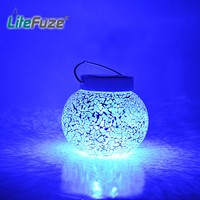 LiteFuze Mosaic Glass Rechargeable Solar Lamp Outdoor Garden Light - Blue