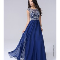 Preorder - Nina Canacci 7116 Navy Blue Chiffon Sweetheart Embellished Long Dress 2016 Prom Dresses