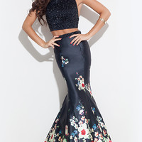 Print Long Two Piece Mermaid Style Prom Dress by Rachel Allan