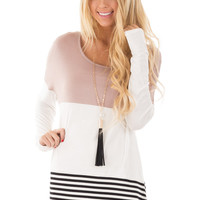 Taupe Color Block Top with Crochet Detail Back
