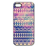 Happinessexplorer Hipstr Nebula & white Aztec Andes Tribal Pattern iPhone 5 5S Case, Best Durable Plastic Colorful Scrawl Aztec iPhone 5 5S Case