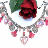 """Valentines Bracelet Glass Hearts, Crystals, harms Handcrafted in Pink,  Elegant """"One of a Kind"""""""