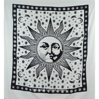 Black and White Sublime Sun Wall Tapestry Queen Bedspread Bedding  on RoyalFurnish.com