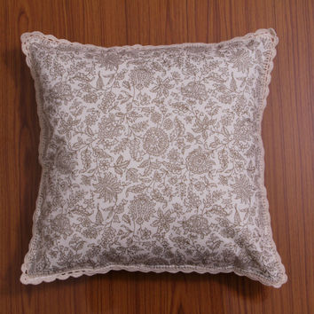 Premium CROCHET CUSHION Cover, Pillow case, Decorative Throw Pillow, Home Decor - Floral print - 16 x 16 inches