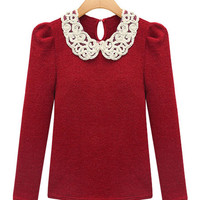 Red Lace Peter Pan Lace Collar Cotton Top