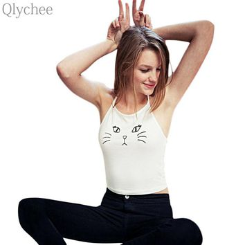 Qlychee Sexy Women Camisole Cat Face Print Female Crop Top Halter Neck Tank Top Vest for Lady