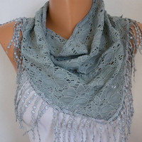 Gray Scarf    Headband Necklace Cowl with Lace Edge by fatwoman/93617646/