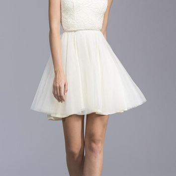 Illusion High Neck Homecoming Short Dress Off White