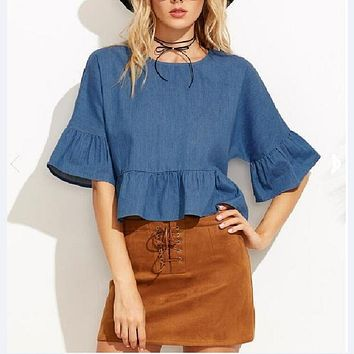 BELLA BUTTERFLY SLEEVE DENIM CROP TOP