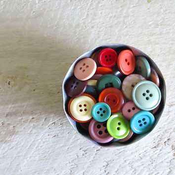 100 Colorful Vintage Buttons in Jello Mold