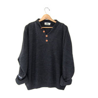 STOREWIDE SALE...vintage dark gray loose knit sweater. oversized sweater.