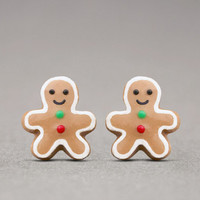 Gingerbread Man Earrings - Christmas Jewelry, Holiday Gifts, Stocking Stuffers
