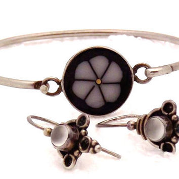 Reduced - Vintage Sterling Silver Moonstone Earrings, Alpaca Bracelet
