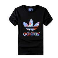 """Adidas"" Unisex Fashion Casual Multicolor Clover Letter Print Short Sleeve T-shirt Couple Shirt Top Tee"