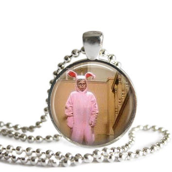 A Christmas Story Necklace Silver Plated Ralphie's Pink Bunny Suit Picture Pendant