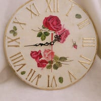 Wall clock Shabby chic, large wall clock, roses wall decor, Shabby Chic home accessories, housewarming gift, gift for woman, new home gift