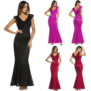 Women Sleeveless Floral Lace Formal Long Evening Party Ball Prom Gown Dress