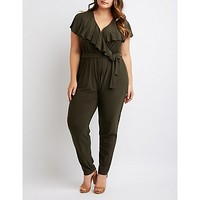 Plus Size Ruffle-Trimmed Jumpsuit | Charlotte Russe