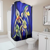 Blue orchids painting shower curtain