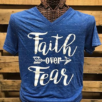 Southern Chics Apparel Faith Over Fear V-Neck Canvas Girlie Bright T Shirt