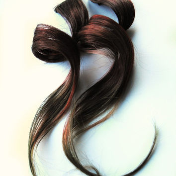 Brown Human hair extension, hair extension, reddish brown, moss green clip in // rainbow hair // Tie Dye Colored Hair // WOODLAND FAE