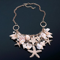 Chunky Gold Tone Sea Shell Starfish Pearl Bib Statement Necklace