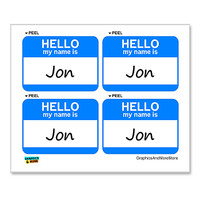 Jon Hello My Name Is - Sheet of 4 Stickers