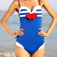 Bow-knot Navy Style Swimsuit - OASAP.com