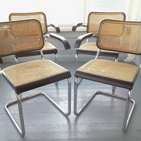 Four, Vintage, Mid Century Modern, Beautiful, Breuer Cesca Style Arm Chairs