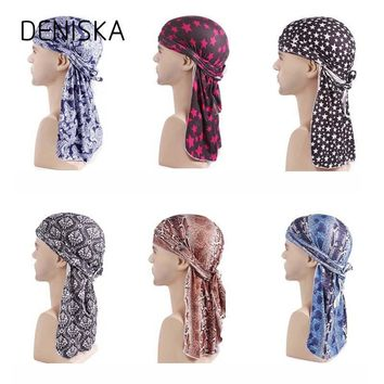 2018 New Unisex Doo Rag Skull Cap Women Men Pattern Durag Bandana Chemo Head Wrap Turban King's Biker Headwear Hair Accessories