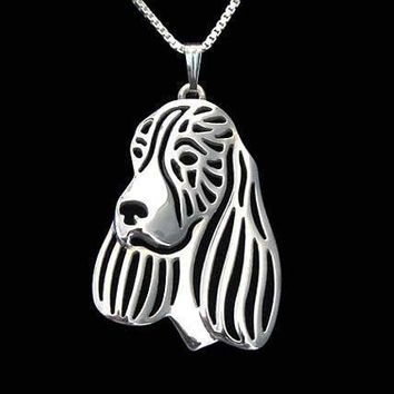 English Springer Spaniel Dog Cut Out Shaped Pendant Necklace in Silver | Animal Jewelry