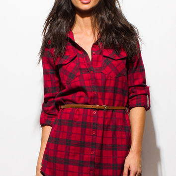 RED PLAID FLANNEL BUTTON UP LONG SLEEVE BELTED TUNIC MINI SHIRT DRESS