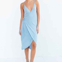 Ecote Striped Knit Wrap Midi Dress