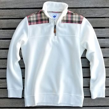 The Uppsala Pullover in White with Plaid by Nordic Fleece