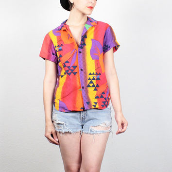Vintage 80s OP Shirt Rainbow Tropical Ocean Pacific Shirt 1980s New Wave Boho Southwestern Surfer Shirt Button Down Hipster Top XS S Small M