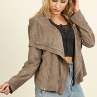 Vegan Suede Zip Up Moto Jacket - Mocha