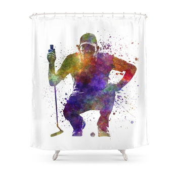 Society6 Man Golfer Crouching Silhouette Shower Curtain
