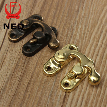 10PCS NED High Quality Small Antique Metal Lock Catch Curved Buckle Horn Lock Clasp Hook Gift Jewelry Box Padlock With Screws