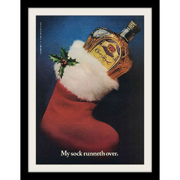 "1982 Crown Royal Canadian Whisky Ad ""Christmas Stocking"" Vintage Advertisement Print"